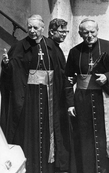 Kardynałowie Karol Wojtyła i Stefan Wyszyński w czasie konklawe w Watykanie, 16.10.1978