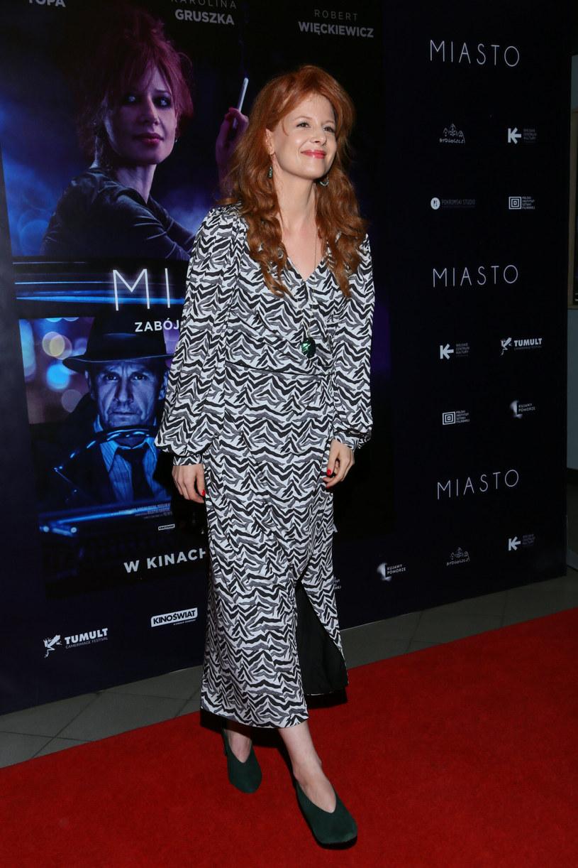 """Karolina Gruszka w czarno-białej sukience na premierze filmu """"MIasto"""" /Pawel Wodzynski/East News /East News"""