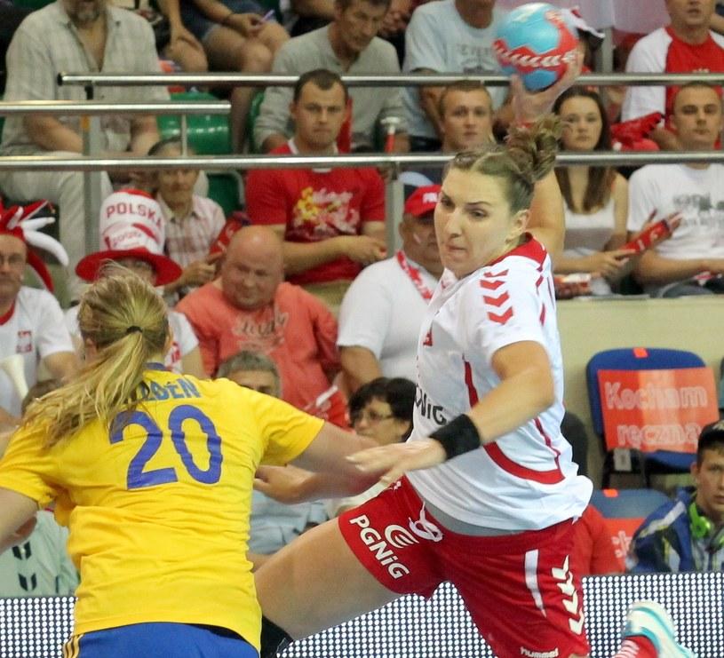 Karolina Kudłacz w meczu ze Szwecją /Fot. Tomasz Waszczuk /PAP