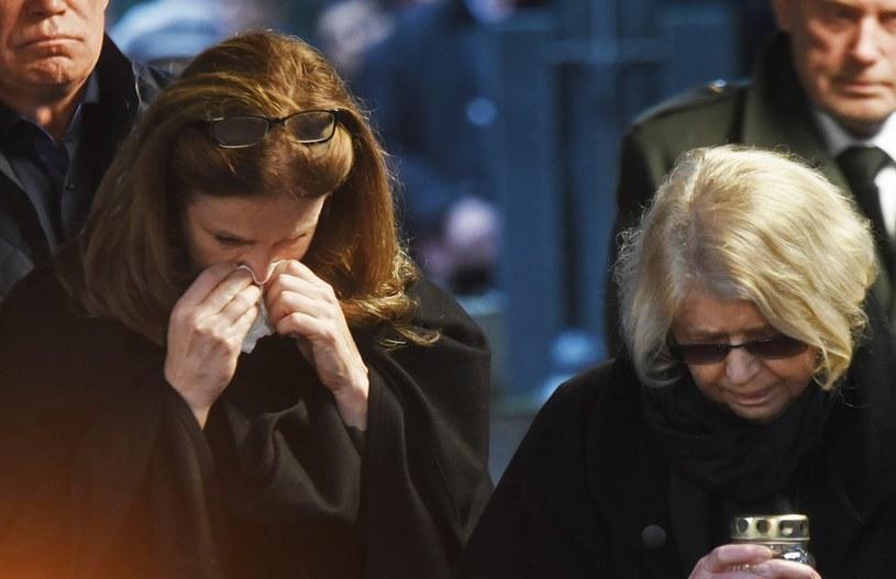 Karolina Wajda i Krystyna Zachwatowicz na pogrzebie Andrzeja Wajdy /M. Lasyk /Reporter