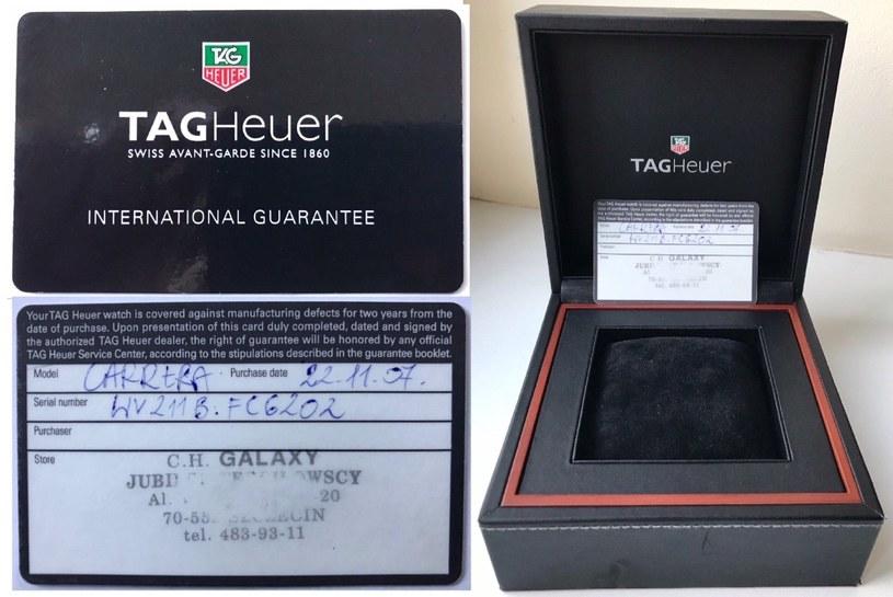 Karta gwarancyjna i opakowanie zegarka zegarek TAG Heuer Carrera /
