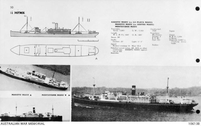 """Karta identyfikacyjna """"Montevideo Maru"""" przygotowana przez US Navy dla załóg okrętów podwodnych /Australian War Memorial /domena publiczna"""