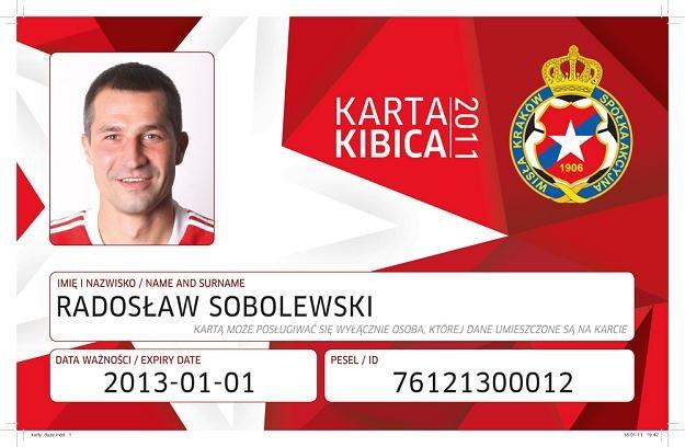 Karta kibica Wisły Kraków. /Informacja prasowa