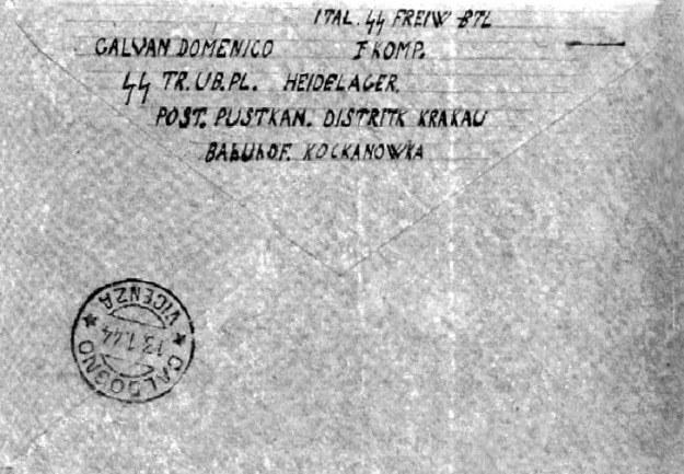 """Kartka z Vincenzy skierowany do jednego z włoskich żołnierzy przebywających na szkoleniu na poligonie SS """"Heidelager"""". /Odkrywca"""