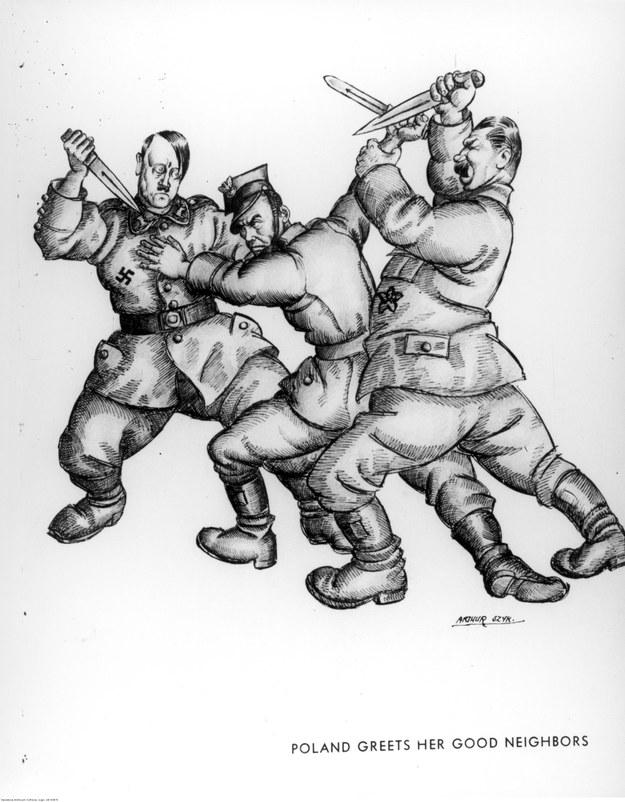 Karykatura autorstwa Artura Szyka ukazująca Adolfa Hitlera i Józefa Stalina atakujących żołnierza polskiego. Niecałe dwa lata później dyktatorzy rzucili się z nożami na siebie /Z archiwum Narodowego Archiwum Cyfrowego