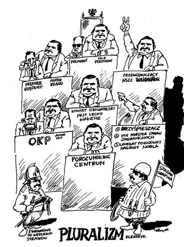 """Karykatura zamieszczona w pismie """"Pogląd"""" w wydaniu z lata 1990. Źródło: www.poglad-berlinwest.de /INTERIA.PL"""