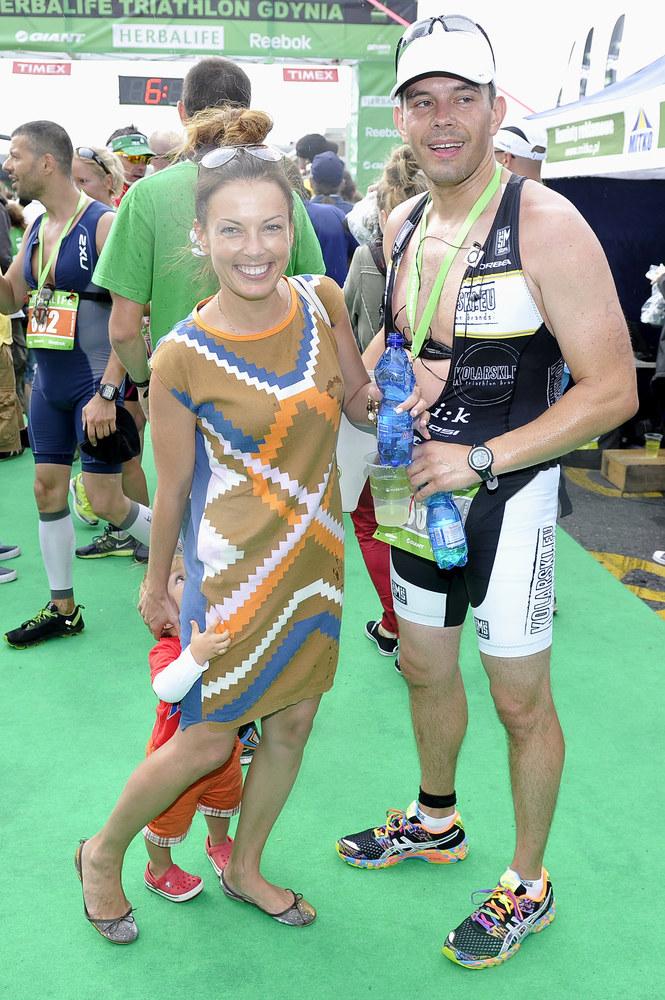 Kasia Glinka i Przemysław Gołdon na imprezie Triathlon Gdynia 2013 /Piętka Mieszko /AKPA
