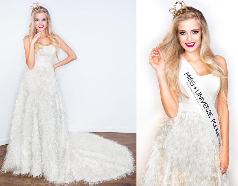Kasia Włodarek na wyborach Miss Universe 2017 wystąpi w sukni projektu Agaty Wojtkiewicz. Model ten został wykonany z tkaniny z jedwabnych nitek imitujących pióra, gorset jest z połyskliwych cekinów, a na sam dół zużyto aż 10 metrów tkaniny /materiał zewnętrzny