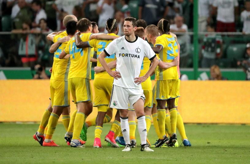 Kasper Hamalainen i jego koledzy z Legii wygrali 1-0 w rewanżu, ale z awansu cieszyła się Astana. /Bartłomiej Zborowski /PAP