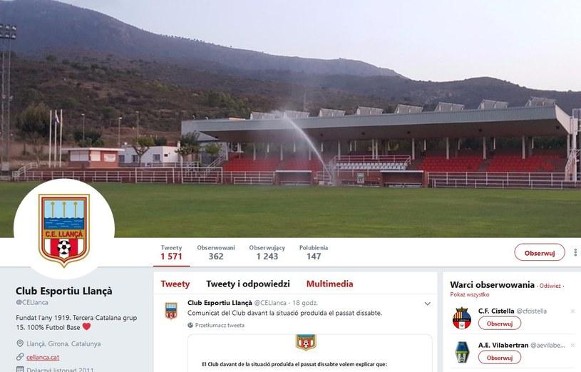 Kataloński klub piłkarski Club Esportiu Llanca jest ostro krytykowany; źródło: Twitter /