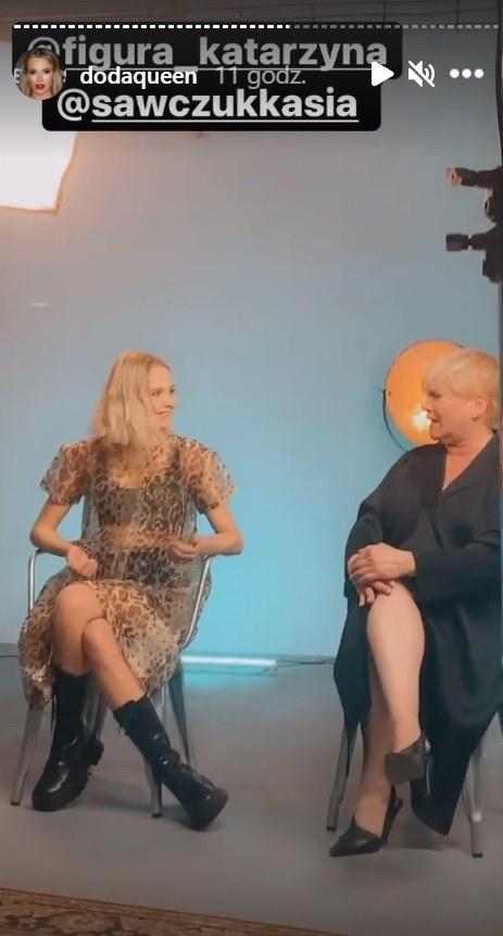 """Katarzyna Figura i Katarzyna Sawczuk podczas promocyjnego wywiadu """"Dziewczyn z Dubaju"""" fot. https://www.instagram.com/dodaqueen/ /Instagram"""