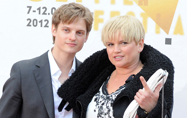 Katarzyna Figura z synem Aleksandrem /Andras Szilagyi /MWMedia