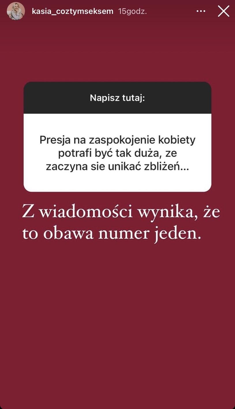 Katarzyna Koczułap zrobiła ankietę wśród swoich odbiorców /Instagram / kasia_coztymseksem /Instagram