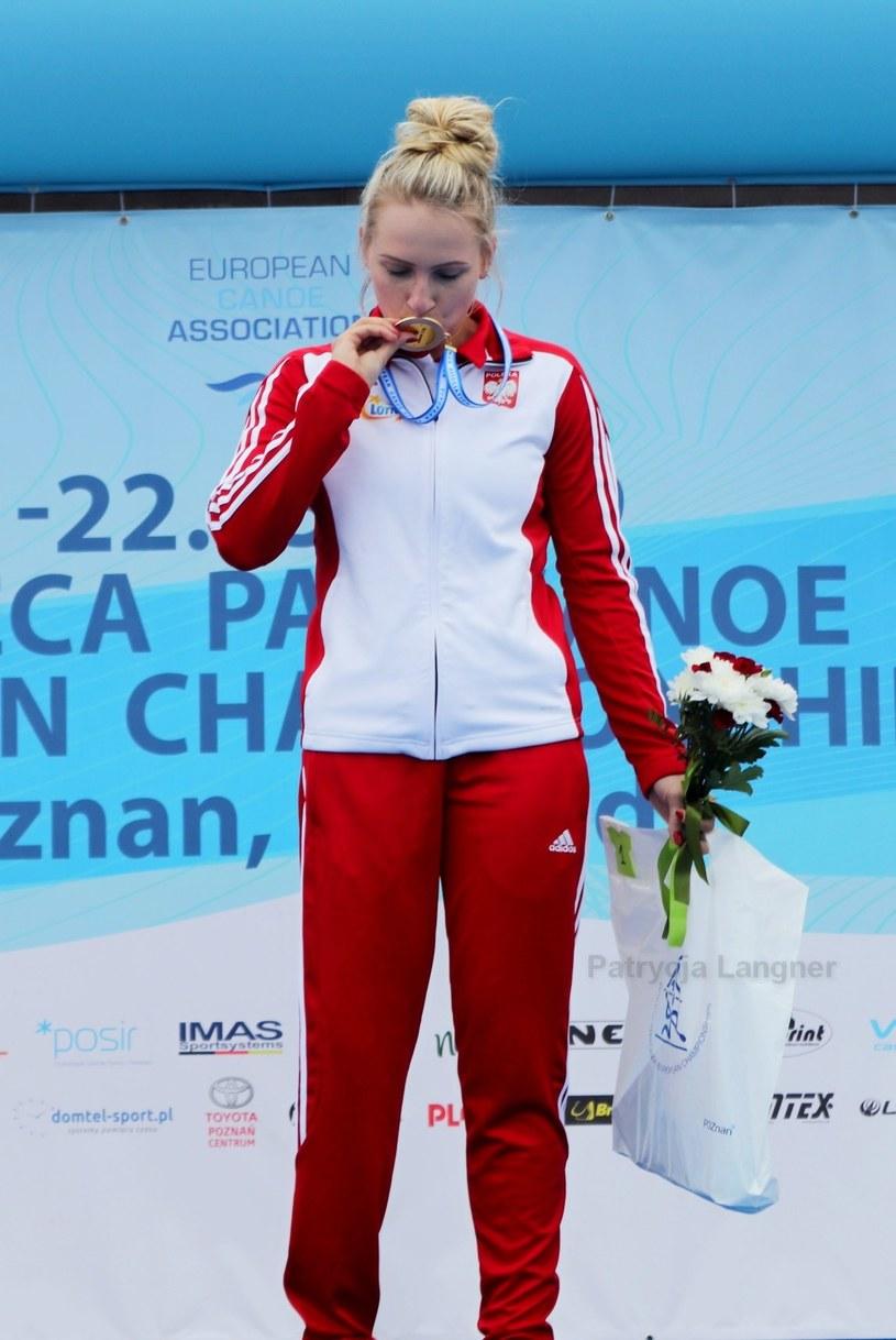 Katarzyna Kozikowska na podium mistrzostw Europy w parakajakarstwie /Archiwum prywatne /archiwum prywatne