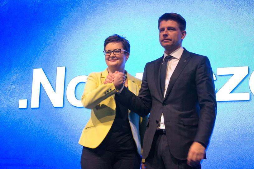 Katarzyna Lubnauer i Ryszard Petru po ogłoszeniu wyników glosowania na nowego przewodniczącego partii /Leszek Szymański /PAP