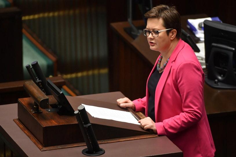 Katarzyna Lubnauer na mównicy sejmowej /Bartłomiej Zborowski  (PAP) /PAP