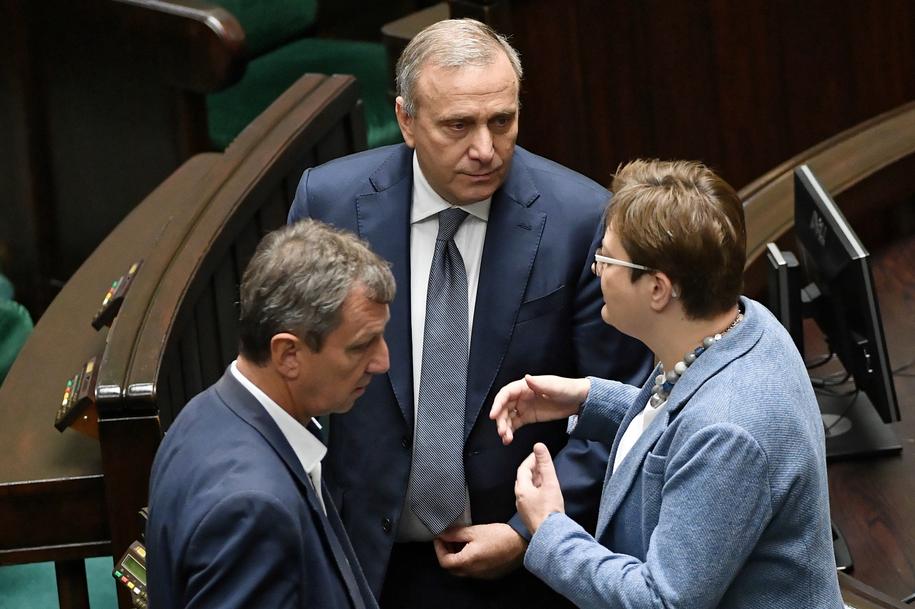 Katarzyna Lubnauer wraz z Grzegorzem Schetyną i Andrzejem Halickim /Marcin Obara /PAP