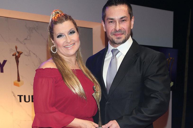 Katarzyna Skrzynecka z mężem, Marcinem Łopuckim /MWMedia