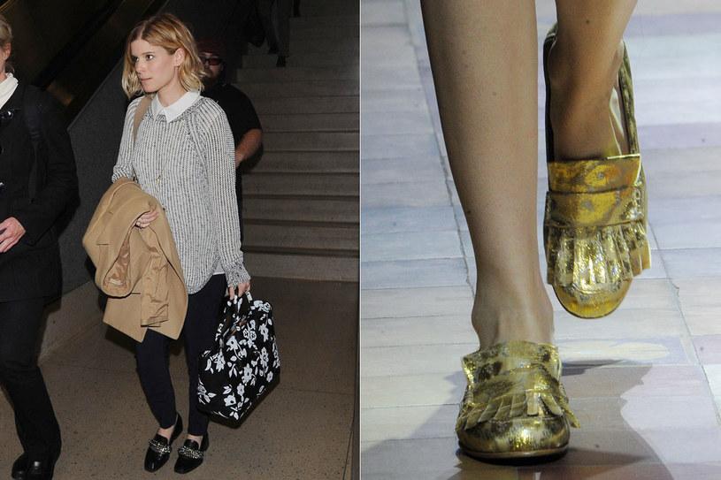 Kate Mara w butach z łańcuchami z Zary , pokaz Lanvin/fot. EastNews/EastNews Zeppelin /Styl.pl