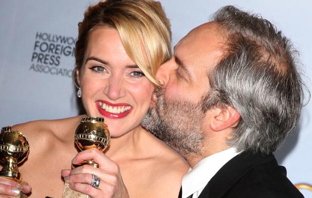 Kate Winslet z mężem na gali wręczenia Złotych Globów, fot. Jason Merritt  /Getty Images/Flash Press Media