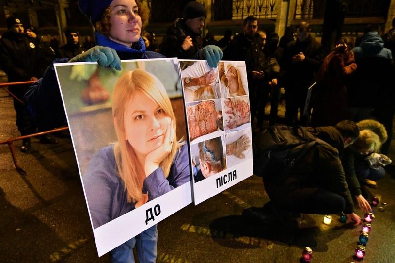 Kateryna Handziuk zmarła z powodu oparzeń po oblaniu kwasem siarkowym. /GENYA SAVILOV /AFP
