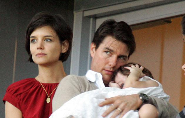 Katie Holmes, Tom Cruise z córką Suri /Toby Canham /Getty Images
