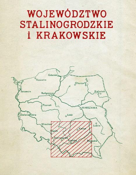 Stalinogród, mapa województw stalinogrodzkiego i krakowskiego, 1955