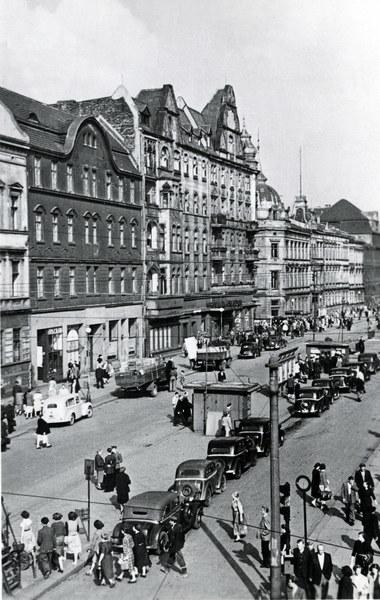 Stalinogród, 1955. Ulica Dworcowa, pocztówka PTTK