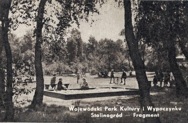 Stalinogród, 1955. Park Kultury i Wypoczynku, pocztówka propagandowa