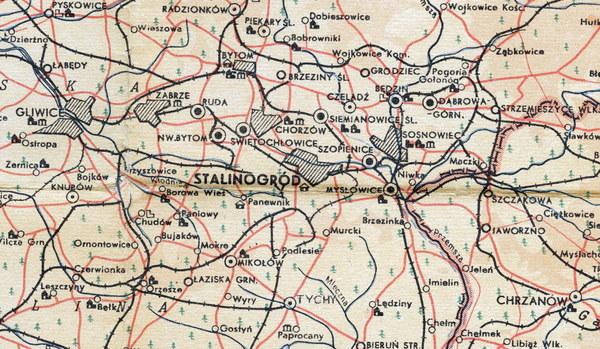 Stalinogród na mapie, 1955