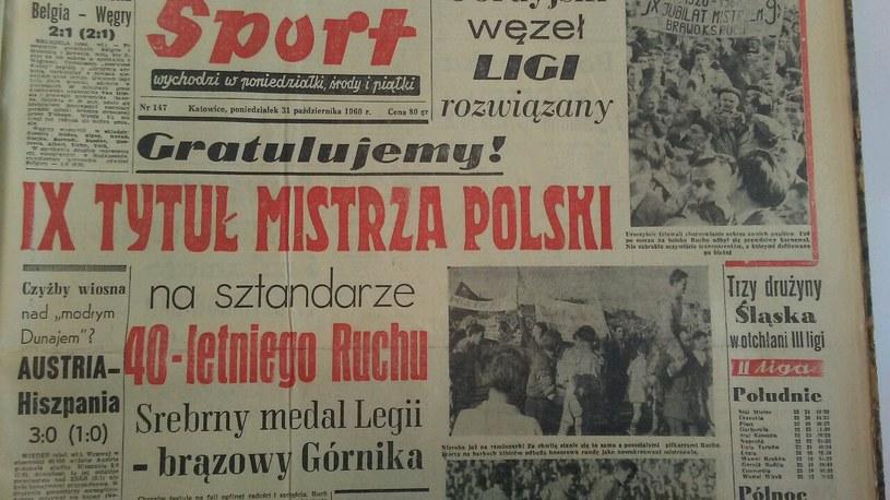 """Katowicki """"Sport"""" po dziewiątym tytule mistrza Polski Ruchu, październik 1960. /INTERIA.PL"""