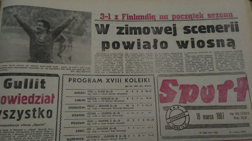 """Katowicki """"Sport"""" po meczu z Finlandią w marcu 1987 roku /INTERIA.PL"""