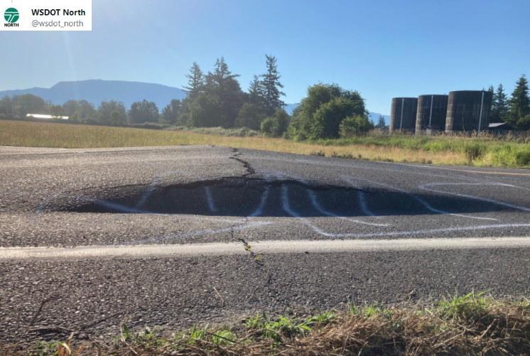 Kawałek odkształconej drogi w Portland /Twitter