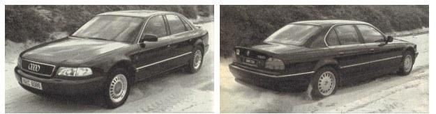 Każdy z rodzajów napędu na jedną oś ma swoje zalety i wady. Audi preferowało w zawieszeniu podwójne wahacze poprzeczne zapewniające zmienność geometrii. Niemniej odgłosy pracy układu jezdnego w A8 (dudnienie przy hamowaniu z dużej prędkości) są donośniejsze niż w BMW. Monachijczycy zdecydowali się z przodu na kolumny McPherson. Układ przeciwślizgowy w obu autach działa doskonale. /Motor