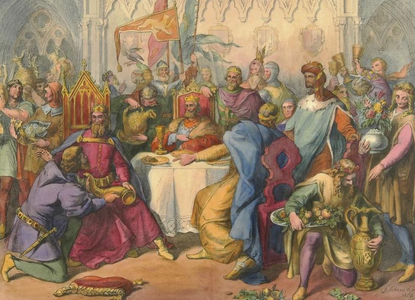 Kazimierz Wielki na słynnej uczcie u Wierzynka. Litografia z połowy XIX wieku /domena publiczna