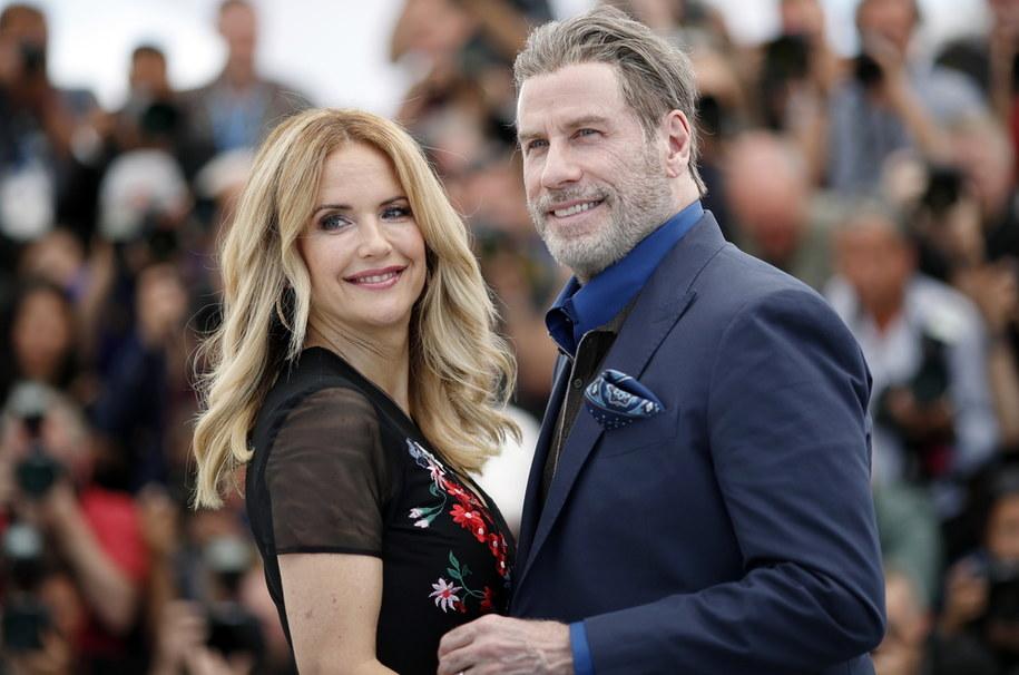 Kelly Preston z mężem Johnem Travoltą w Cannes w 2018 roku /FRANCK ROBICHON /PAP/EPA