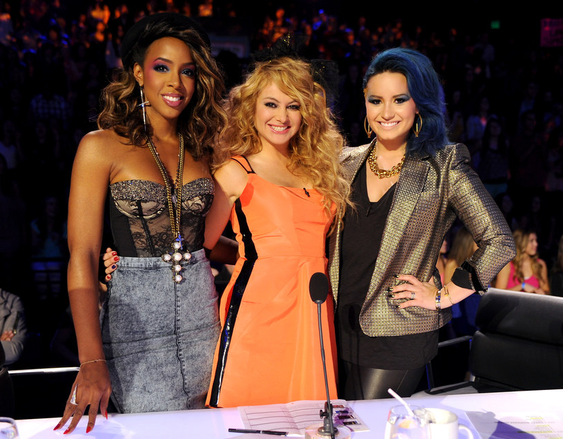 "Kelly Rowland u boku Pauliny Rubio i Demi Lovato w ""X Factorze"" /FOX /Getty Images"