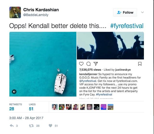 Kendall Jenner promowała Fyre Festival na Instagramie, posty po problemach organizacyjnych, zniknęły z sieci /