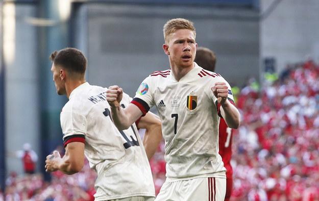 Kevin De Bruyne strzelił gola i asystował przy bramce dla Belgii /Wolfgang Rattay / POOL /PAP/EPA