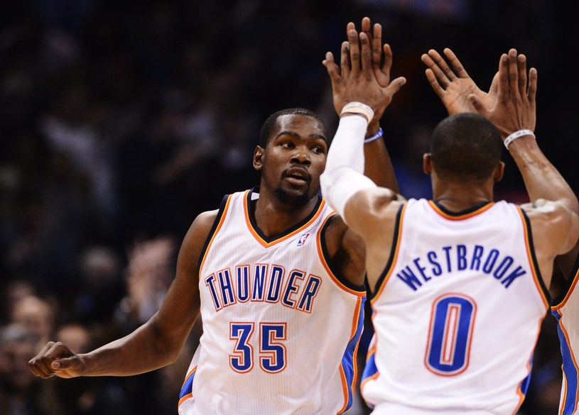 Kevin Durant i Russell Westbrook /PAP/EPA