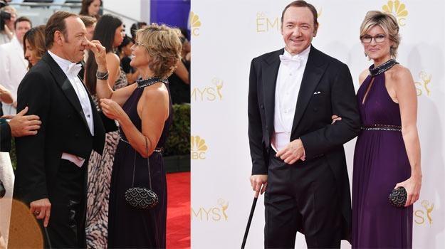 Kevin Spacey przybył na galę Emmy z dziennikarką CNN, Ashleigh Banfield. /Getty Images