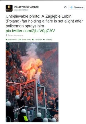 Kibic Zagłębia zapłonął od racy i gazu ochroniarza