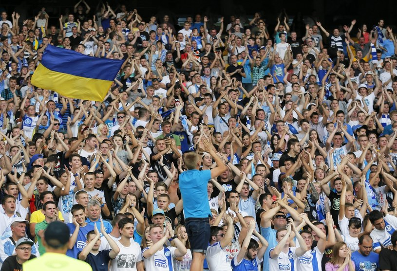 Kibice Dnipro podczas meczu z FC Kopenhaga /PAP/EPA