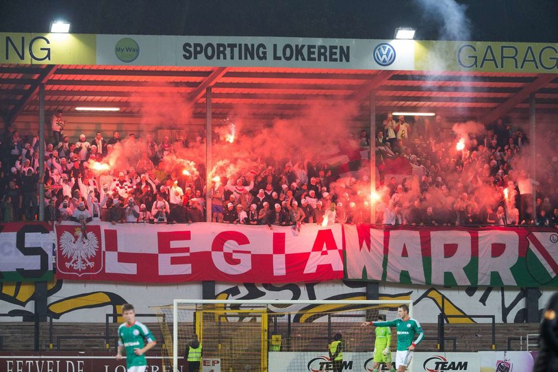 Kibice Legii Warszawa na stadionie Lokeren /AFP