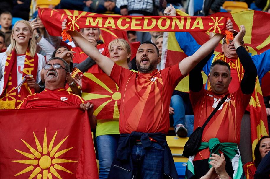 Kibice reprezentacji Macedonii podczas meczu z Hiszpanią /Adam Warżawa /PAP