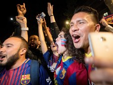 Kibice świętują mistrzostwo Barcelony