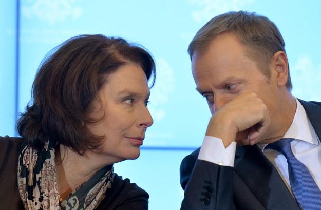 Kidawa-Błońska razem z Donaldem Tuskiem na wtorkowej konferencji prasowej /Radek Pietruszka /PAP