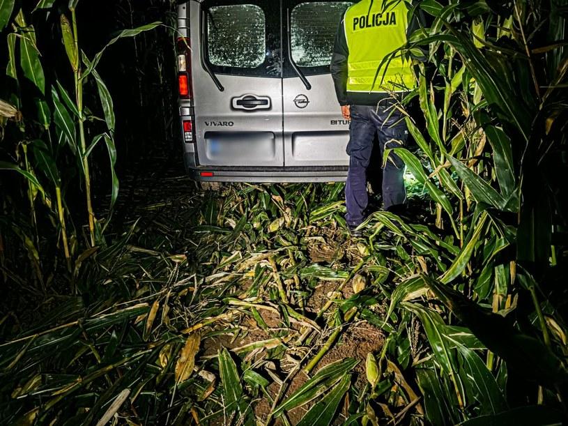 Kierowca dostawczego samochodu uciekał przez pole kukurydzy /policja siemiatycze /