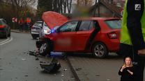 Kierowca nagle zjechał na przeciwległy pas i uszkodził trzy inne pojazdy