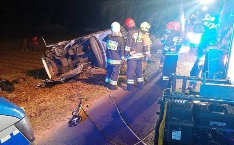 Kierowca nie miał prawa jazdy i prawdopodobnie był pijany. Nie dziwi, że na widok policji wpadł w panikę / Fot: Straż pożarna /